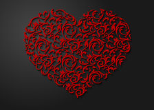 Modèle floral en forme de coeur rouge avec des feuilles Symbole modelé de l'amour 3d avec l'ombre sur le fond foncé Photographie stock