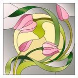 Modèle floral en verre souillé Photos stock