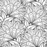 Modèle floral monochrome sans couture de vecteur Images libres de droits