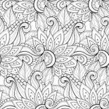 Modèle floral monochrome sans couture de vecteur Photographie stock