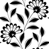 Modèle floral monochrome sans couture de vecteur Image stock