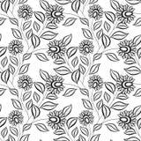 Modèle floral monochrome sans couture de vecteur illustration de vecteur