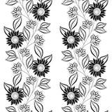 Modèle floral monochrome sans couture de vecteur Images stock