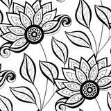 Modèle floral monochrome sans couture de vecteur illustration stock