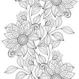 Modèle floral monochrome sans couture de vecteur Photo stock