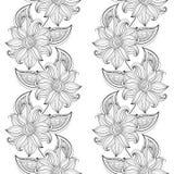 Modèle floral monochrome sans couture de vecteur Photos libres de droits