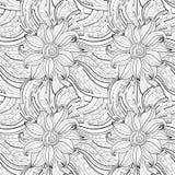 Modèle floral monochrome sans couture (vecteur) Images stock