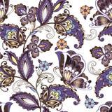 Modèle floral oriental sans couture avec des papillons Le vintage fleurit l'ornement sans couture dans des couleurs bleues Orneme illustration stock