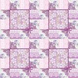 Modèle floral rose de dentelle sans couture de patchwork rétro illustration de vecteur