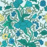 Modèle floral sans couture asiatique est bleu et jaune coloré illustration libre de droits