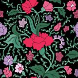 Modèle floral sans couture asiatique est magenta, pourpre et vert coloré sur le noir illustration de vecteur