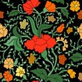Modèle floral sans couture asiatique est rouge, jaune et vert coloré sur le noir illustration de vecteur