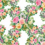 Modèle floral sans couture avec des roses rouges et oranges Images stock