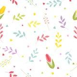 Modèle floral sans couture avec des tulipes, des lis de la vallée, des coeurs et des feuilles Vecteur mignon de couleur illustration de vecteur