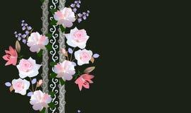 Modèle floral sans couture avec la guirlande verticale des fleurs de jardin d'isolement sur le fond noir Carte de salutation ou d illustration stock
