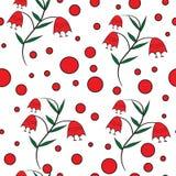 Modèle floral sans couture avec les cloches rouges illustration stock