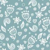 Modèle floral sans couture floral dans le style de griffonnage Image libre de droits
