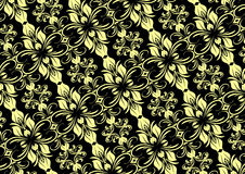 Modèle floral sans couture noir crème Photo libre de droits