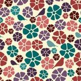Modèle floral sans couture, texture de fond de vintage avec des fleurs et oiseaux Modèle floral de colorfull pour le textile illustration libre de droits