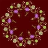 Modèle floral sur le backgruond rouge foncé Photo stock