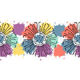 Modèle floral tiré par la main de vecteur sans couture, cadre coloré de frontière sans fin avec des fleurs, feuilles Ligne graphi Images libres de droits