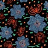 Modèle folklorique de vecteur sans couture avec les fleurs bleues et rouges et la texture d'embroidey illustration stock