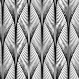 Modèle géométrique abstrait avec les lignes onduleuses Fond sans couture Ornement monochrome illustration libre de droits