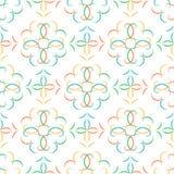 Modèle géométrique abstrait multicolore sans couture de vecteur avec des arabesques floraux illustration libre de droits