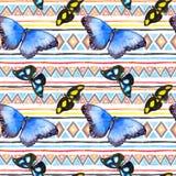 Modèle géométrique avec des papillons Répétant le modèle - conception ornementale décorative watercolor illustration stock