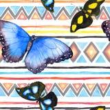 Modèle géométrique avec des papillons Répétant le modèle - conception ornementale décorative watercolor illustration de vecteur
