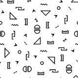 Modèle géométrique avec la triangle, ligne pointillée, ligne onduleuse, zigzag, flèche, cercle dans le style de Memphis Image libre de droits