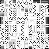 Modèle géométrique avec noir et blanc Formez une triangle, une ligne, une ligne onduleuse, une courbe, une croix, un cercle Style illustration stock