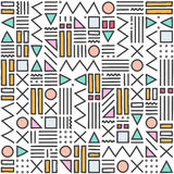 Modèle géométrique avec noir et blanc Formez une triangle, une ligne, une ligne onduleuse, une courbe, une croix, un cercle Style Image libre de droits