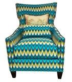 Modèle géométrique de fauteuil moderne classique bleu vert bleu de style se tenant directement d'isolement sur le fond blanc Photos stock