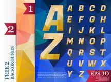 Modèle géométrique de fond polygonal d'alphabet de Crystal Font de Image stock