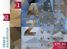 Modèle géométrique de fond polygonal d'alphabet de Crystal Font Images libres de droits