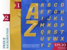 Modèle géométrique de fond polygonal d'alphabet de Crystal Font Photos libres de droits