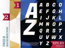 Modèle géométrique de fond polygonal d'alphabet de Crystal Font Photographie stock