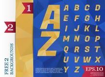 Modèle géométrique de fond polygonal d'alphabet de Crystal Font de Photographie stock libre de droits