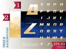 Modèle géométrique de fond polygonal d'alphabet de Crystal Font Photos stock