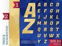 Modèle géométrique de fond polygonal d'alphabet de Crystal Font Photographie stock libre de droits