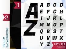 Modèle géométrique de fond polygonal d'alphabet de Crystal Font de Images libres de droits