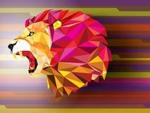 Modèle géométrique de lion fâché sur l'illu abstrait de vecteur de fond Photos stock