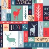 Modèle géométrique de Noël sans couture avec des silhouettes des cerfs communs, des flocons de neige et du sapin illustration libre de droits
