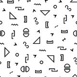 Modèle géométrique de vecteur avec noir et blanc Formez une triangle, une ligne pointillée, une ligne onduleuse, une ligne de zig Image libre de droits