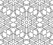 Modèle géométrique noir et blanc de vintage sans couture Texture de tuile Photo stock