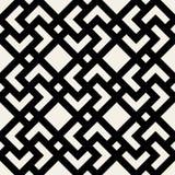 Modèle géométrique noir et blanc sans couture de tuile de place de croix de losange de vecteur Image stock