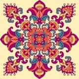 Modèle géométrique oriental avec la damassé et les éléments floraux illustration libre de droits