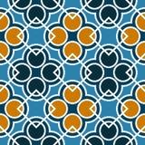 Modèle géométrique sans couture avec des cercles et des places des nuances bleues, oranges, et blanches Photographie stock libre de droits
