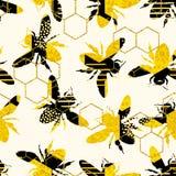 Modèle géométrique sans couture avec l'abeille illustration de vecteur